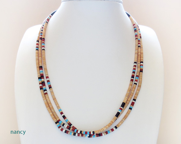 Santo Domingo 3 Strand Colorful Heishi Necklace 17 - 2661rio