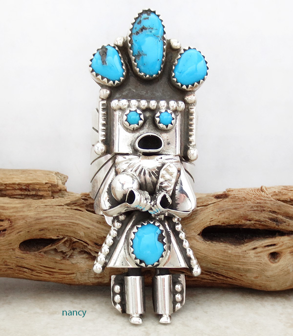 Corn Maiden Kachina Turquoise & Sterling Silver Ring Size 8.5 Navajo - 2204rio