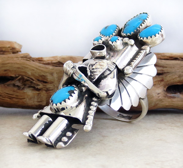 Image 1 of   Corn Maiden Kachina Turquoise & Sterling Silver Ring Size 8.5 Navajo - 2204rio