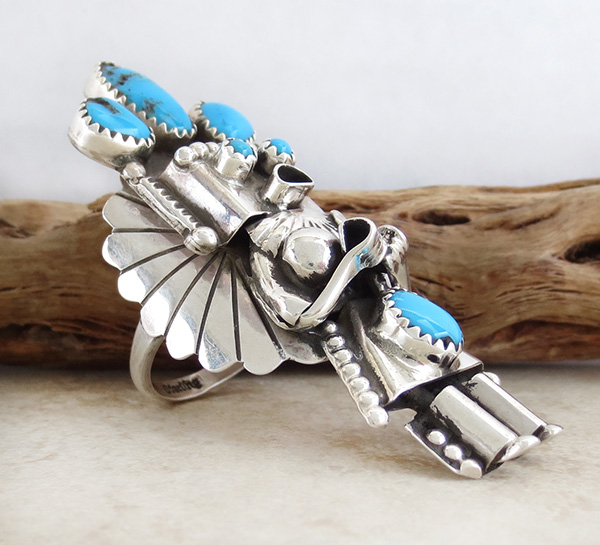 Image 2 of   Corn Maiden Kachina Turquoise & Sterling Silver Ring Size 8.5 Navajo - 2204rio