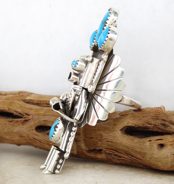 Image 3 of   Corn Maiden Kachina Turquoise & Sterling Silver Ring Size 8.5 Navajo - 2204rio