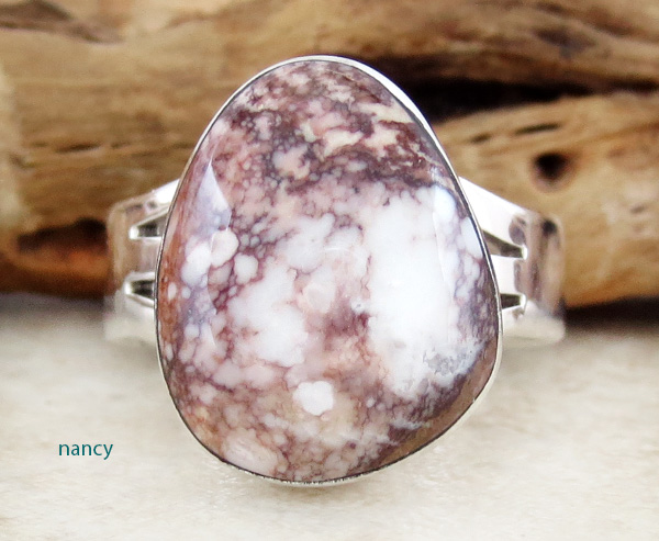 Navajo Made Wild Horse Stone & Sterling Silver Ring size 9 - 2663sn
