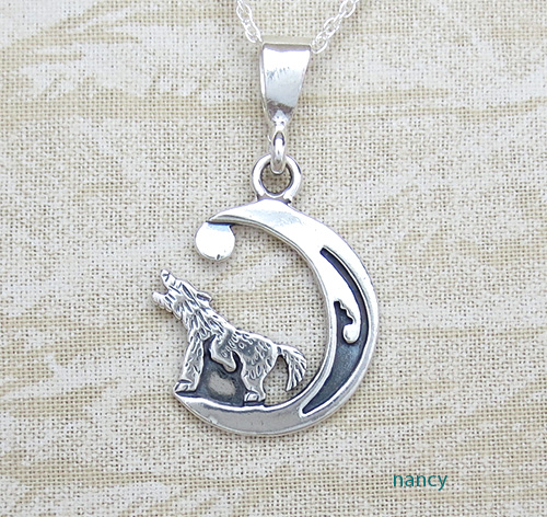Little Sterling Silver Coyote Pendant Navajo Made - 2362sn