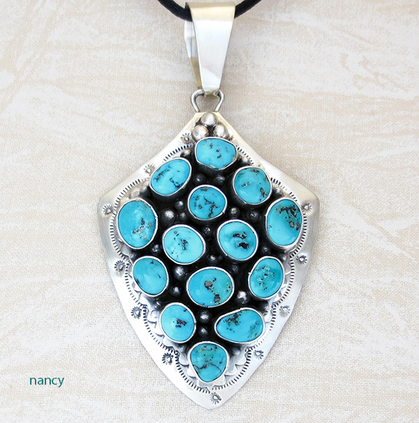Large Turquoise & Sterling Silver Pendant Navajo Ella Peter -2731sw