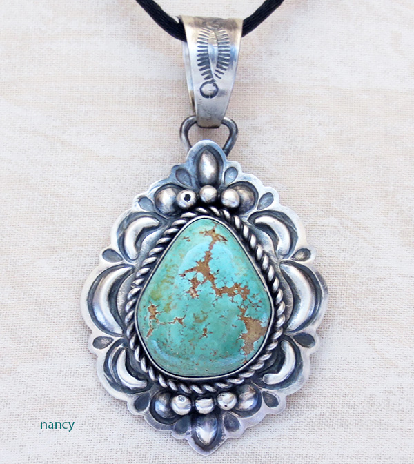 Green Carico Lake Turquoise & Sterling Silver Pendant Navajo - 2665sw