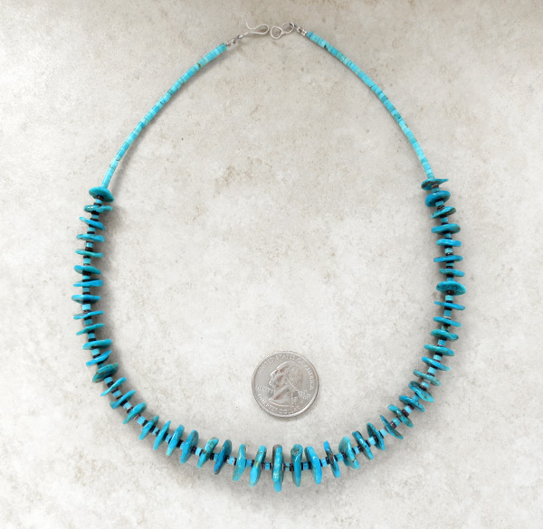 Deep Blue Turquoise Disk & Heisgi Necklace 17.5