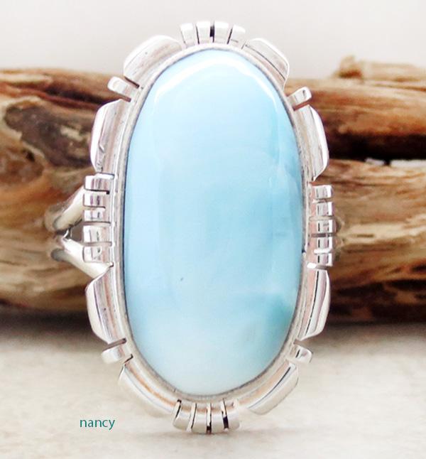 Larimar Gemstone & Sterling Silver Ring Size 9 Navajo - 1224rio