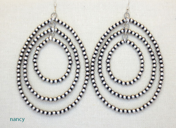 Large Sterling Silver Desert Pearl Hoop Earrings Navajo - 2215rio