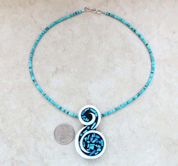 Image 2 of    Santo Domingo Turquoise Inlay Pendant & Heishi Necklace Mary Tafoya - 2734mlt