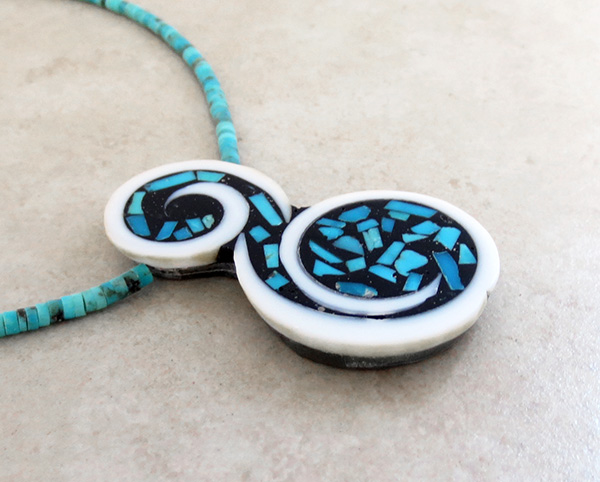 Image 4 of    Santo Domingo Turquoise Inlay Pendant & Heishi Necklace Mary Tafoya - 2734mlt