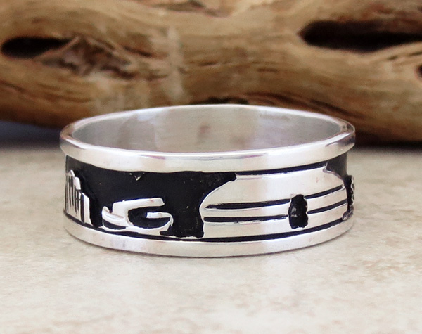 Image 0 of     Sterling Silver Story Teller & Sterling Silver Ring size 14 Navajo - 1849rio
