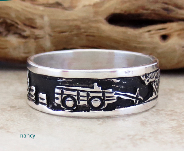 Image 2 of     Sterling Silver Story Teller & Sterling Silver Ring size 14 Navajo - 1849rio