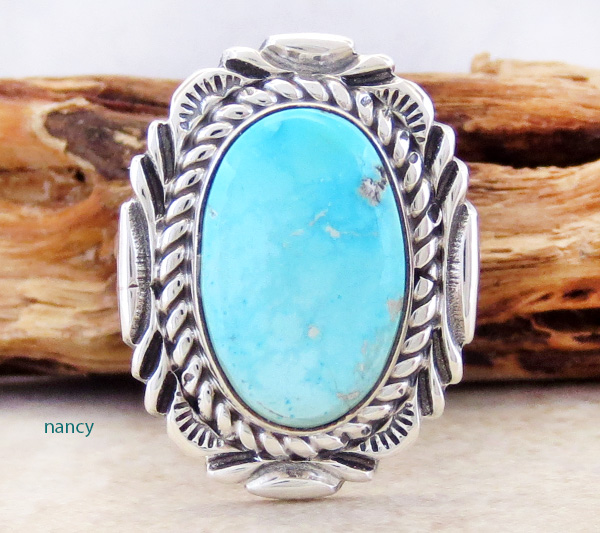 Turquoise & Sterling Silver Ring size 7 Navajo V Chee - 2217at