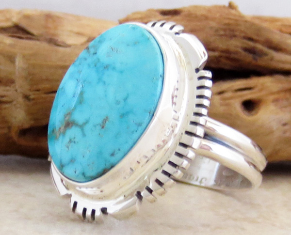 Image 1 of    Turquoise & Sterling Silver Ring Sz 9.5 Native American Jewelry - 2667at