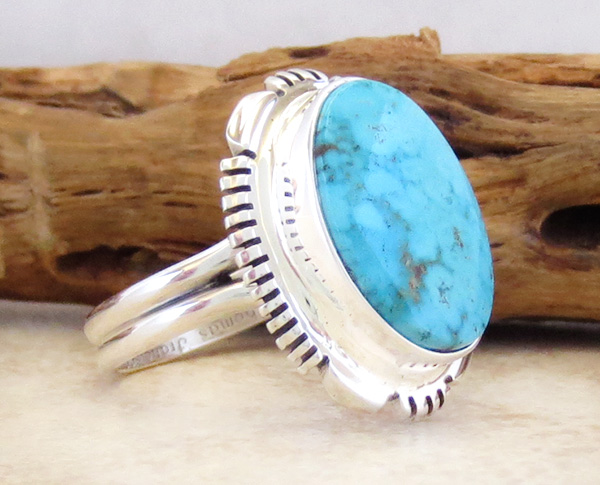 Image 2 of    Turquoise & Sterling Silver Ring Sz 9.5 Native American Jewelry - 2667at