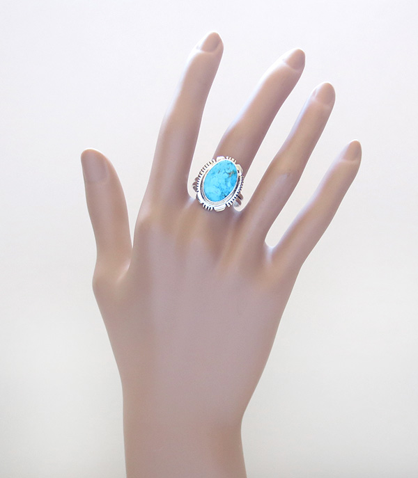 Image 6 of    Turquoise & Sterling Silver Ring Sz 9.5 Native American Jewelry - 2667at