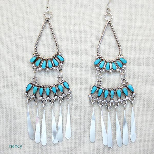 Turquoise & Sterling Silver Chandelier Earrings Zuni Made - 2218pl