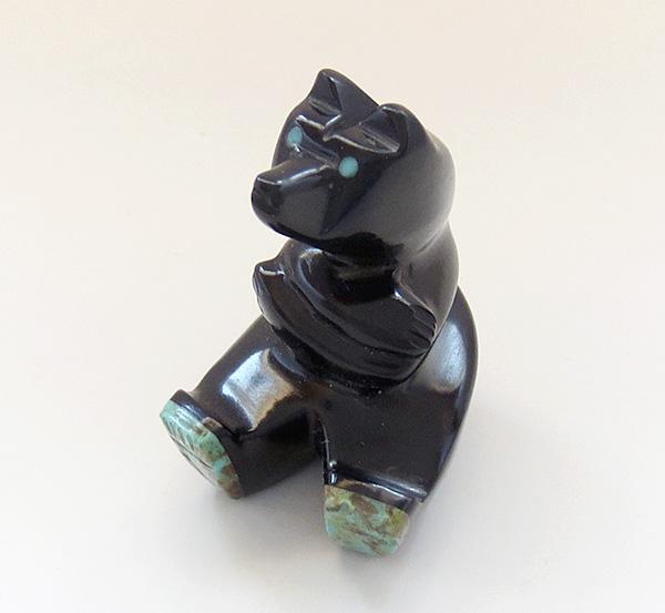 Image 1 of Hand Carved Black Jet Bear Fetish Navajo Made - 2670ft