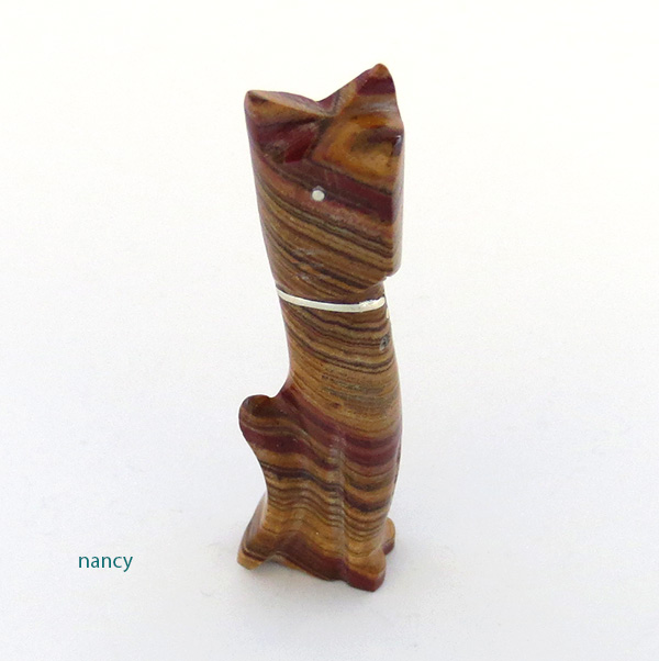 Carved Jasper Cat Fetish Zuni Kenny Chavez - 1850ft