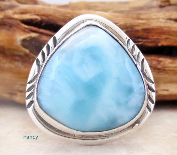 Larimar Gemstone & Sterling Silver Ring Size 7 Navajo - 2668pl