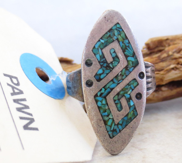 Vintage Pawn Turquoise Chip Inlay Sterling Silver Ring Size 10 Navajo