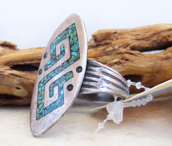 Image 1 of Vintage Pawn Turquoise Chip Inlay Sterling Silver Ring Size 10 Navajo - 2673vt