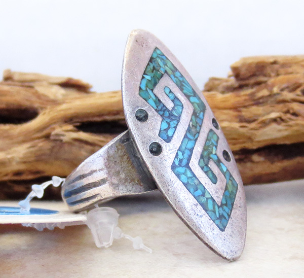 Image 2 of Vintage Pawn Turquoise Chip Inlay Sterling Silver Ring Size 10 Navajo - 2673vt