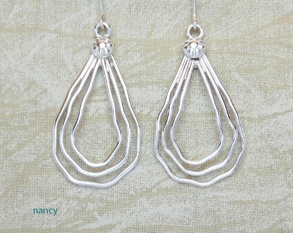 Curvy Sterling Silver Wire Earrings Murphy Platero Navajo - 2674sn