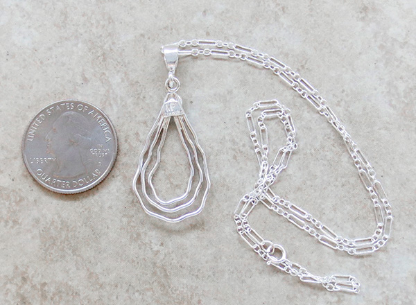 Image 3 of  Curvy Sterling Silver Wire Pendant Murphy Platero Navajo - 2498sn