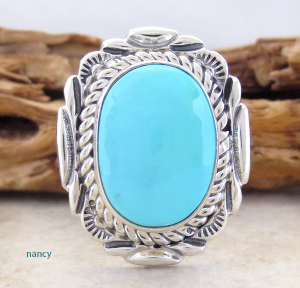 Turquoise & Sterling Silver Ring size 9 Navajo V Chee - 2723at