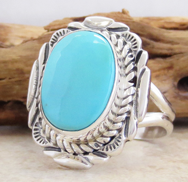 Image 1 of  Turquoise & Sterling Silver Ring Sz 9 Native American Jewelry - 2723at