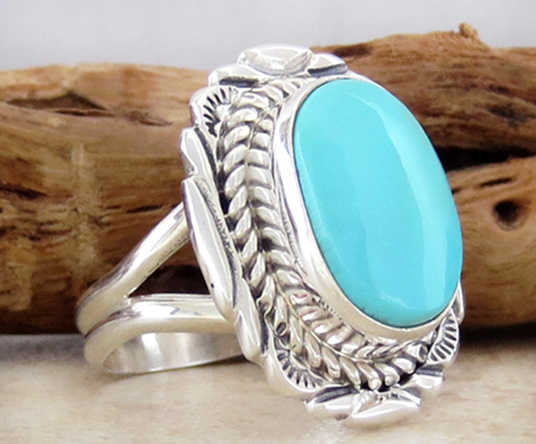 Image 2 of  Turquoise & Sterling Silver Ring Sz 9 Native American Jewelry - 2723at