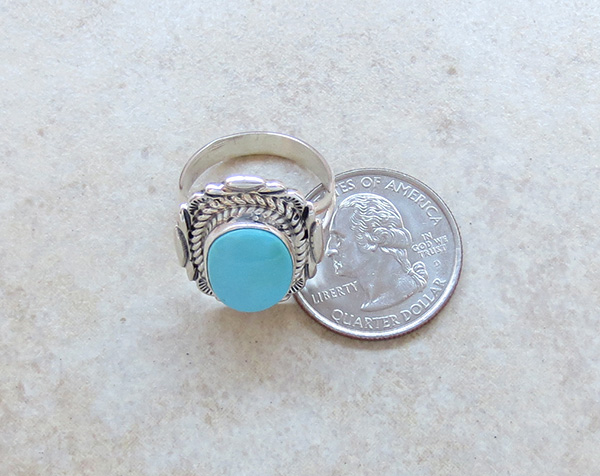 Image 4 of  Turquoise & Sterling Silver Ring Sz 9 Native American Jewelry - 2723at