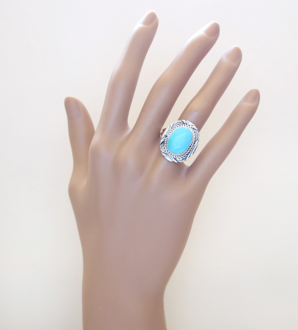 Image 6 of  Turquoise & Sterling Silver Ring Sz 9 Native American Jewelry - 2723at
