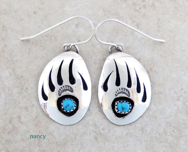 Turquoise Bear Claw & Sterling Silver Earrings Navajo