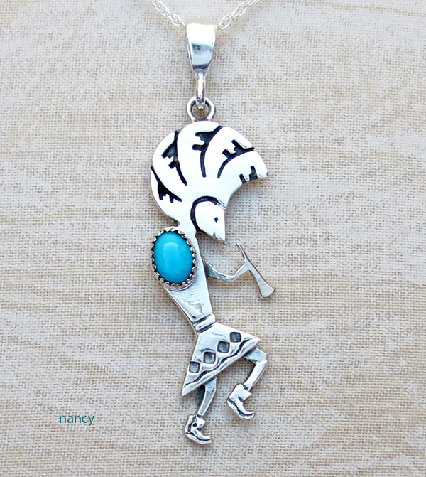 Turquoise Kokopelli & Sterling Silver Pendant with Chain Navajo
