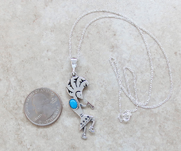 Image 1 of Turquoise & Sterling Silver Pendant with Chain Navajo Jewelry - 2684sn