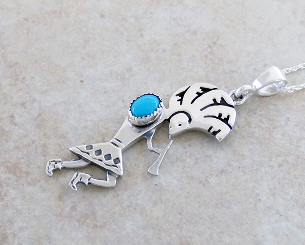 Image 2 of Turquoise & Sterling Silver Pendant with Chain Navajo Jewelry - 2684sn