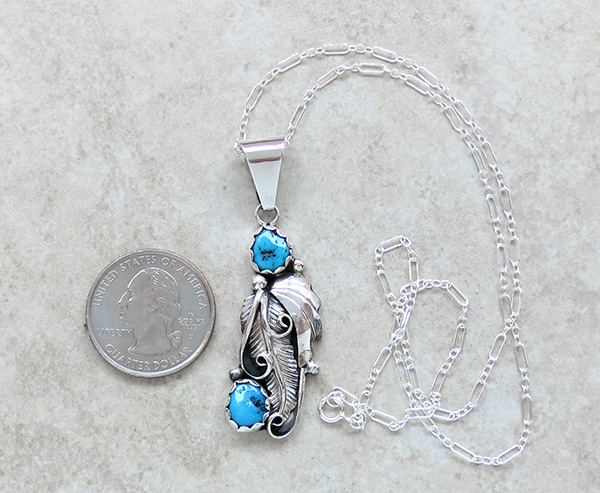 Image 1 of Classic Turquoise Leaf & Sterling Silver Pendant Navajo - 2745sn