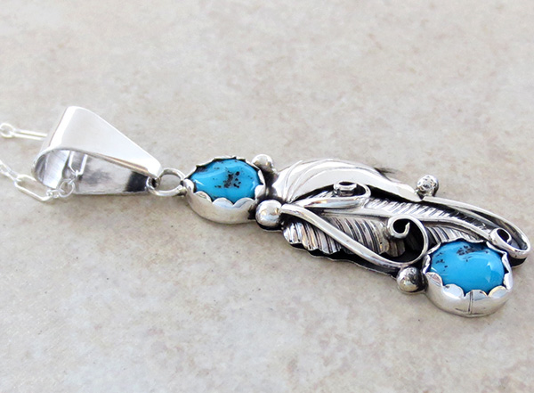 Image 2 of Classic Turquoise Leaf & Sterling Silver Pendant Navajo - 2745sn