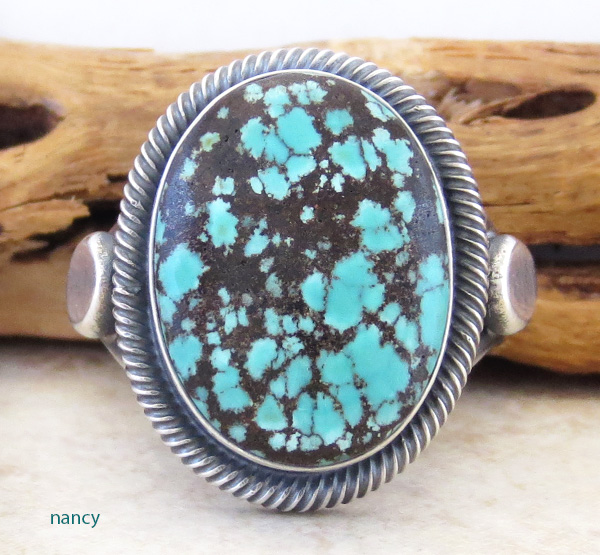 Old Style Navajo Made Turquoise & Sterling Silver Ring Size 11.25 - 2249rio