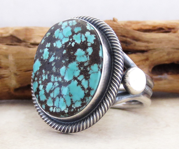 Image 1 of      Old Style Navajo Made Turquoise & Sterling Silver Ring Size 11.25 - 2249rio