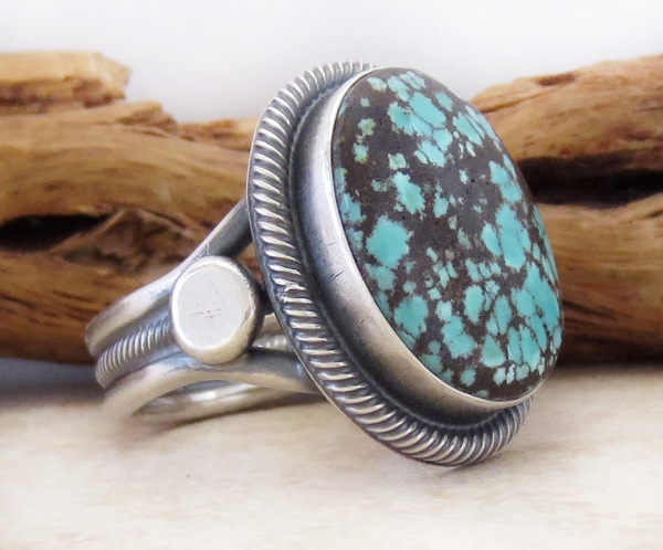 Image 2 of      Old Style Navajo Made Turquoise & Sterling Silver Ring Size 11.25 - 2249rio