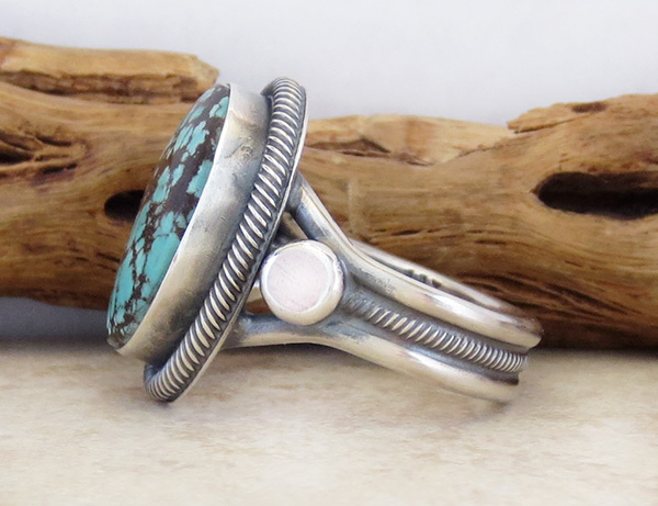 Image 3 of      Old Style Navajo Made Turquoise & Sterling Silver Ring Size 11.25 - 2249rio