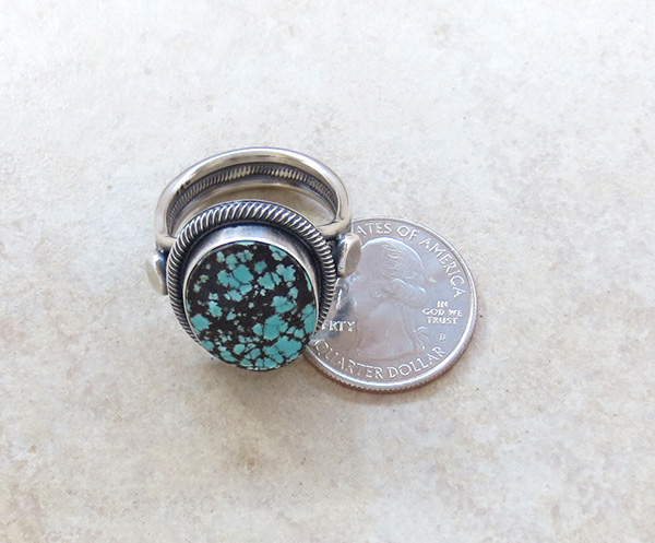 Image 4 of      Old Style Navajo Made Turquoise & Sterling Silver Ring Size 11.25 - 2249rio
