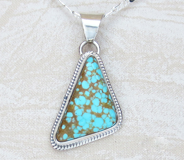 Image 0 of    Navajo Jewelry #8 Mine Turquoise & Sterling Silver Pendant - 3014sn