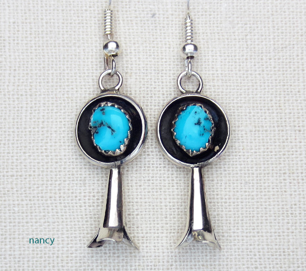 urquoise Squash Blossom & Sterling Silver Earrings Navajo