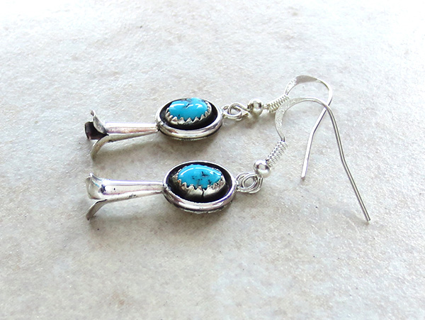 Image 1 of    Turquoise Squash Blossom & Sterling Silver Earrings Navajo - 2695rio