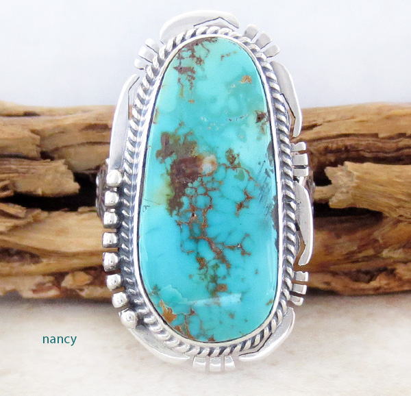 Large Royston Turquoise & Sterling Silver Ring size 9 Navajo - 2698sn