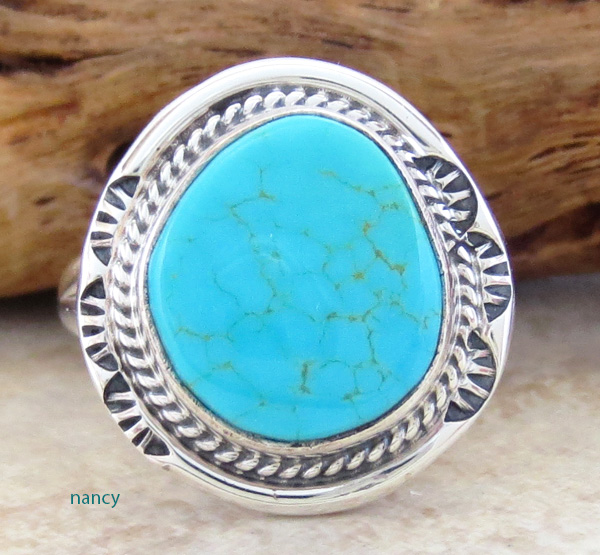 Little Turquoise & Sterling Silver Ring size 7 Navajo Made - 2753sn